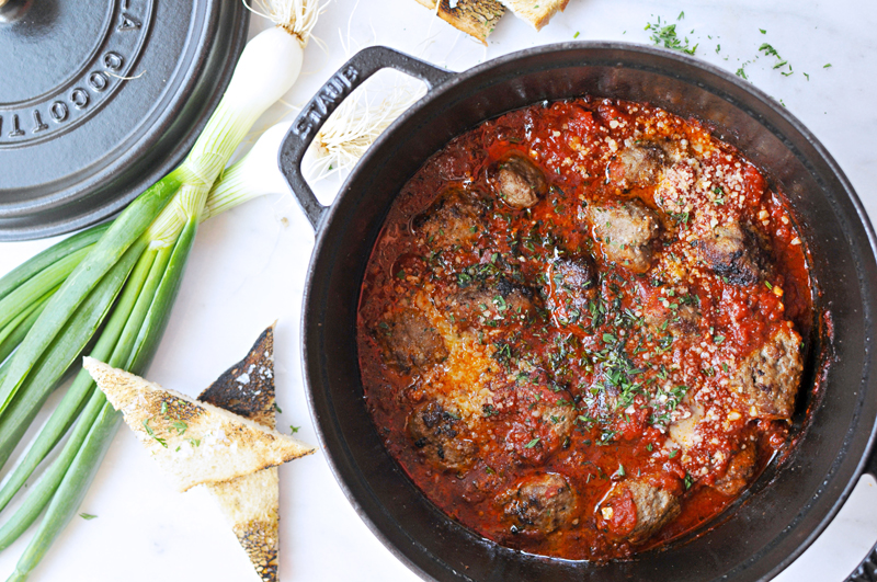 Cool Mom Eats weekly meal plan: Pan-Braised Meatballs at The Pig and The Quill