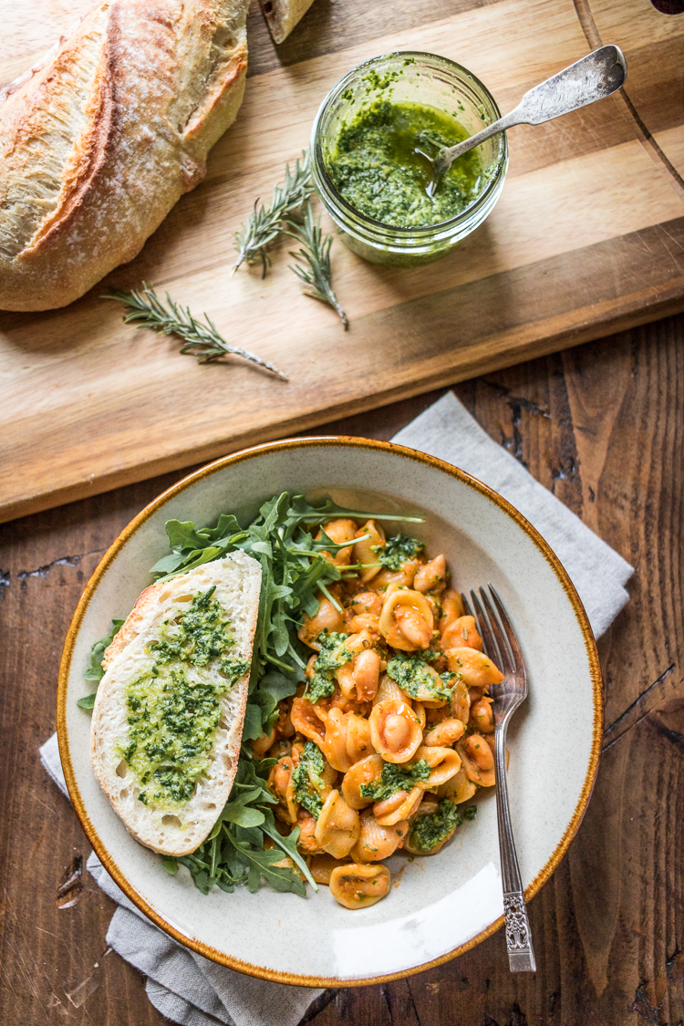Cool Mom Eats weekly meal plan: Pasta with White Beans and Rosemary Pesto at The Wanderlust Kitchen