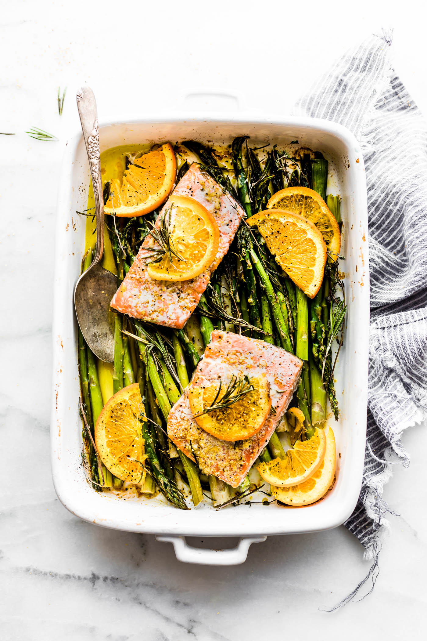 Cool Mom Eats weekly meal plan: Rosemary Orange One Pan Baked Salmon at Cotter Crunch