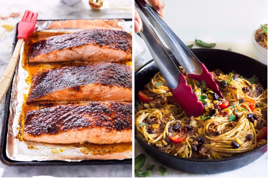 Next week's meal plan: 5 easy recipes for the week ahead, from a 10-minute salmon to Taco Spaghetti.