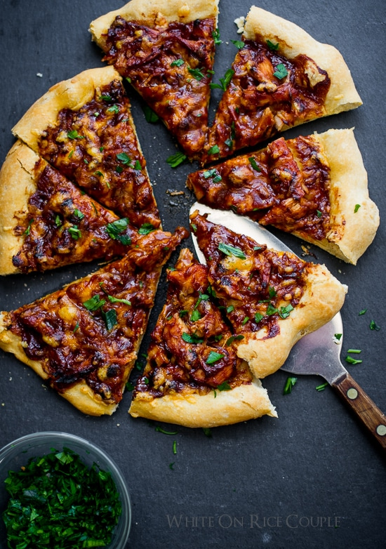 Thanksgiving leftovers recipes: BBQ Turkey Pizza at White on Rice Couple