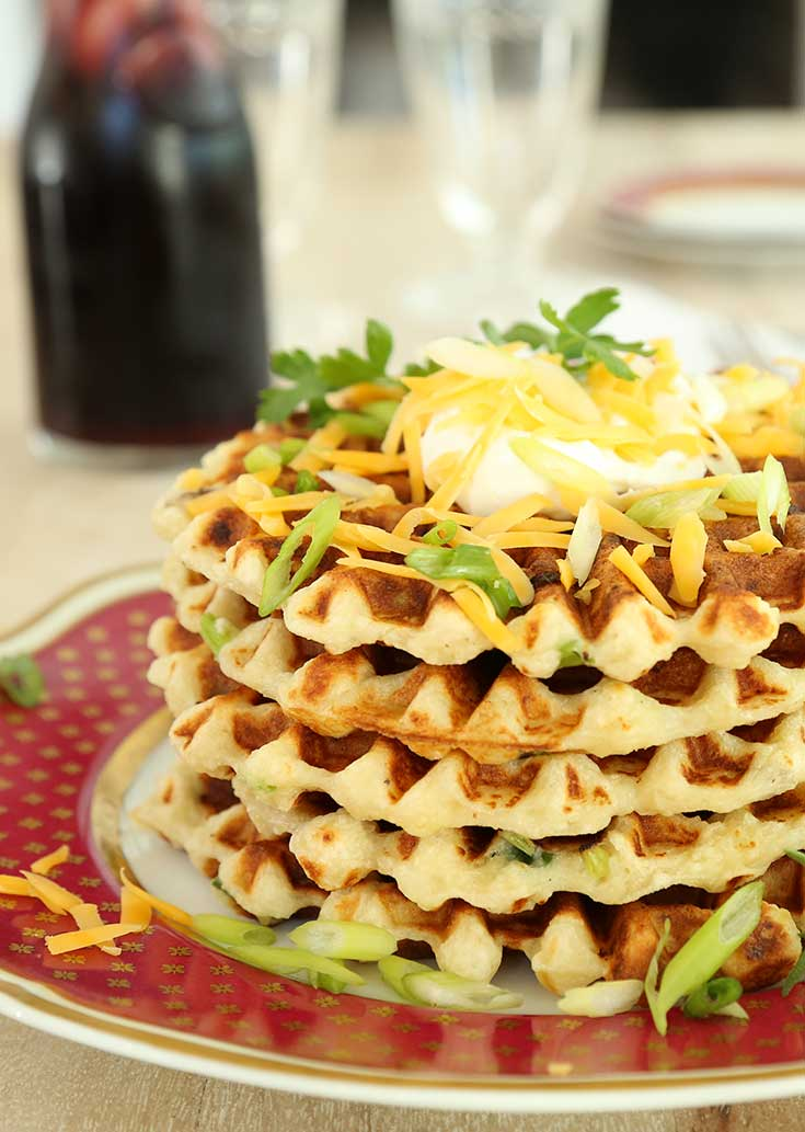 Thanksgiving leftovers recipes: Mashed Potato Waffles at Hilah Cooking