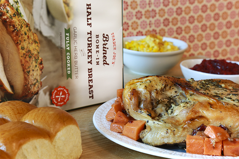All the Trader Joe's products to grab for easier Thanksgiving cooking: Brined, Bone-In Half Turkey Breast | featured at Cool Mom Eats