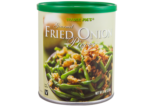 All the Trader Joe's products to grab for easier Thanksgiving cooking: Gourmet Fried Onion Pieces | featured at Cool Mom Eats