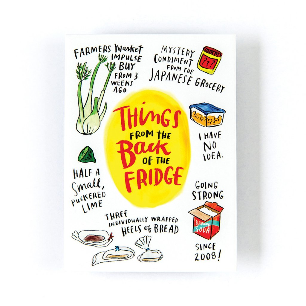 Hilarious gifts that poke (just enough!) fun of foodie culture for your favorite artisanal food, avocado toast, matcha tea loving friends with a sense of humor: Back of the fridge magnet at Emily McDowell Studios | Cool Mom Eats holiday gift guide 2017