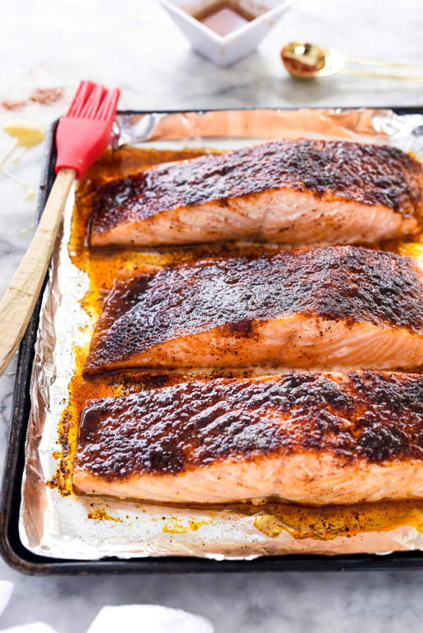 Cool Mom Eats weekly meal plan: 10-Minute Maple Crusted Salmon at FoodieCrush