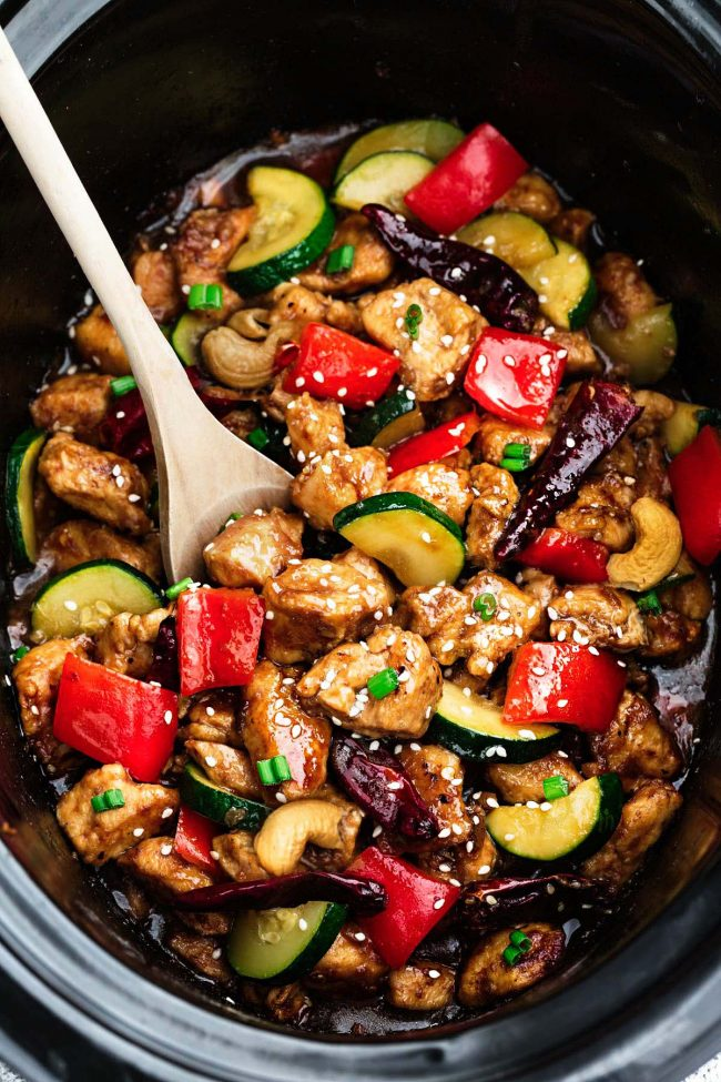 Cool Mom Eats weekly meal plan: Slow Cooker Kung Pao Chicken at The recipe Critic
