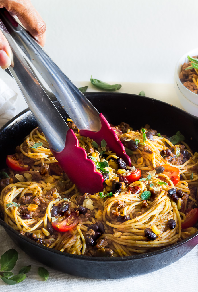 Cool Mom Eats weekly meal plan: Taco Spaghetti at Whisk It Real Gud