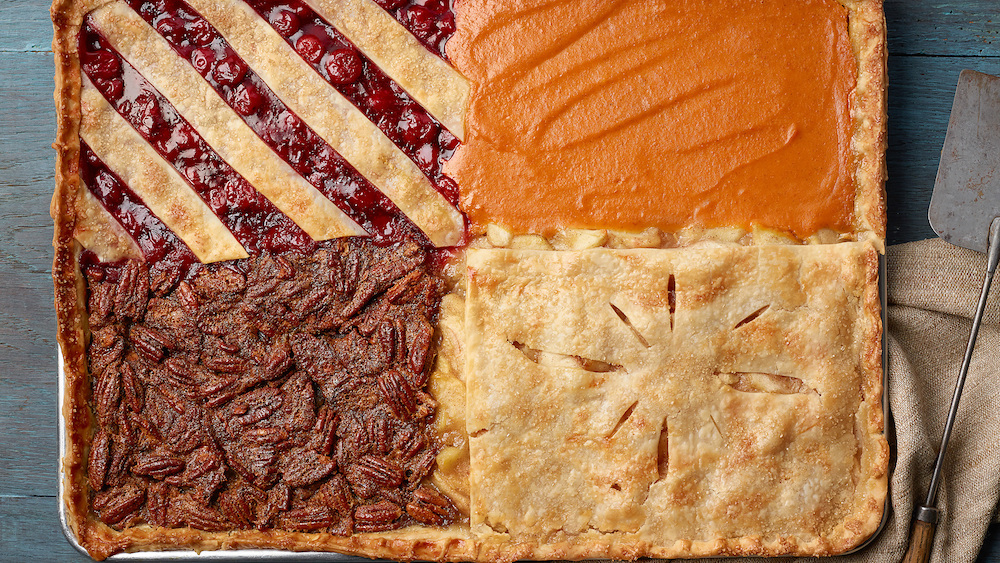 Thanksgiving cooking hacks: Make one big four-flavor sheet pan pie, to cut down on leftovers | Photo by Food Network