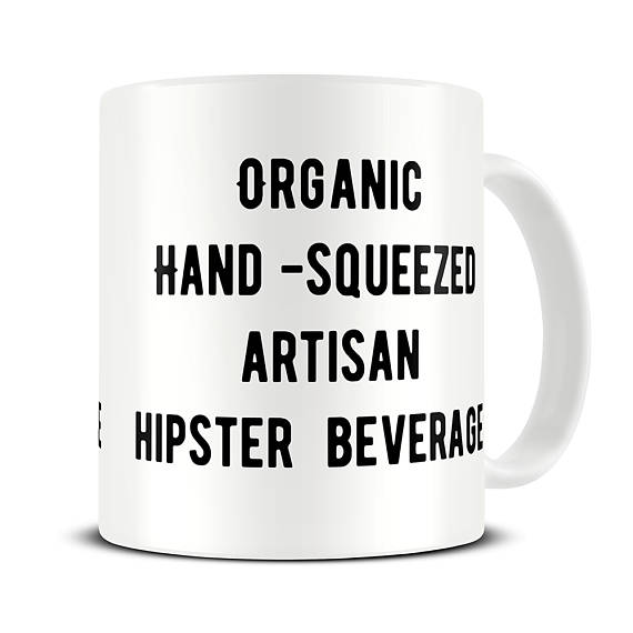 Hilarious gifts that poke (just enough!) fun of foodie culture for your favorite artisanal food, avocado toast, matcha tea loving friends with a sense of humor: Hipster mug at The Mug Hermit | Cool Mom Eats holiday gift guide 2017