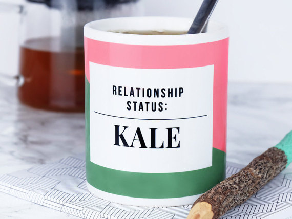 Hilarious gifts that poke (just enough!) fun of foodie culture for your favorite artisanal food, avocado toast, matcha tea loving friends with a sense of humor: Kale Mug at We Are Paper Plane | Cool Mom Eats