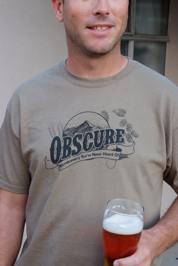 Hilarious gifts that poke (just enough!) fun of foodie culture for your favorite artisanal food, avocado toast, matcha tea loving friends with a sense of humor: Obscure brewery shirt at Brewer shirts on Etsy | Cool Mom Eats