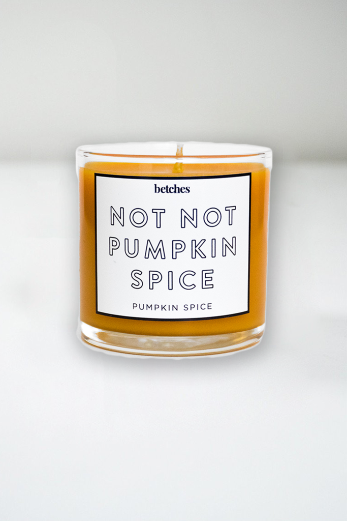 Hilarious gifts that poke (just enough!) fun of foodie culture for your favorite artisanal food, avocado toast, matcha tea loving friends with a sense of humor: Pumpkin spice candle at Betches | Cool Mom Eats holiday gift guide 2017