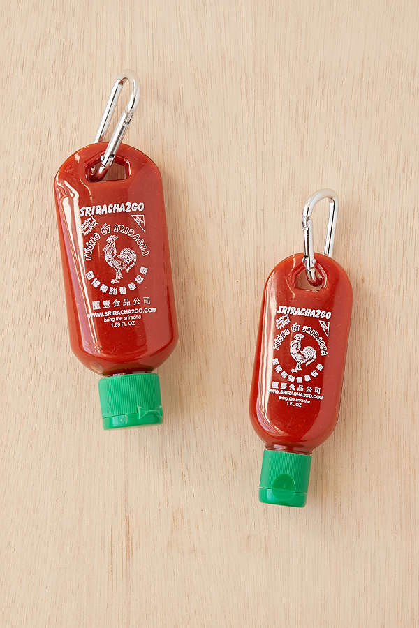 Hilarious gifts that poke (just enough!) fun of foodie culture for your favorite artisanal food, avocado toast, matcha tea loving friends with a sense of humor: Sriracha 2 Go keychain at Urban Outfitters | Cool Mom Eats holiday gift guide 2017