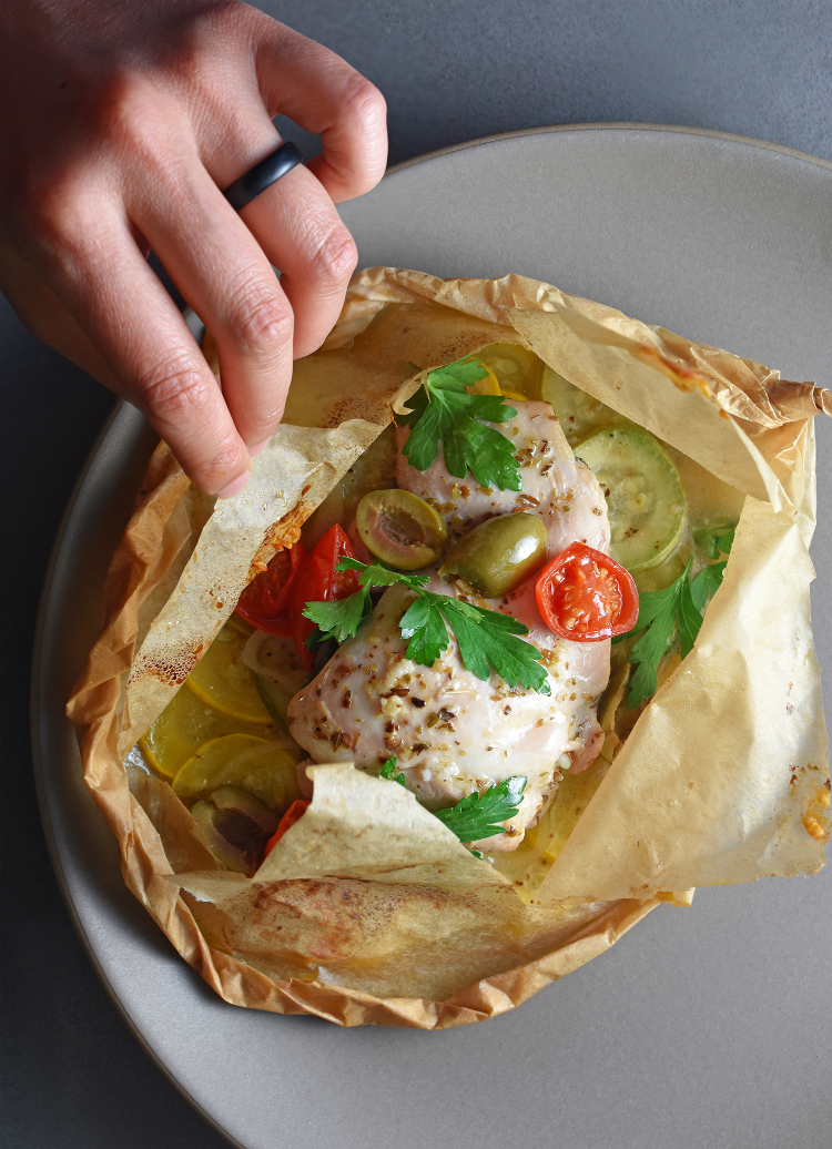 Cool Mom Eats weekly meal plan: Lemon Garlic Chicken Parchment Packets at Nom Nom Paleo