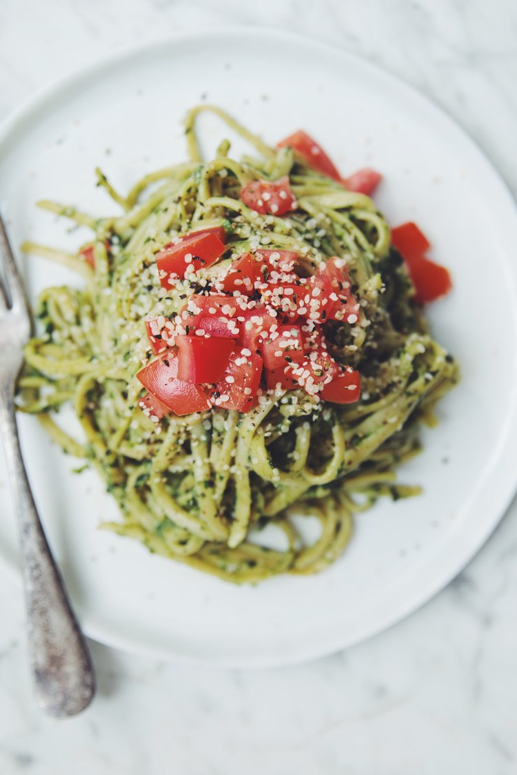 Cool Mom Eats weekly meal plan: Vegan Avocado Pesto at Hot For Food