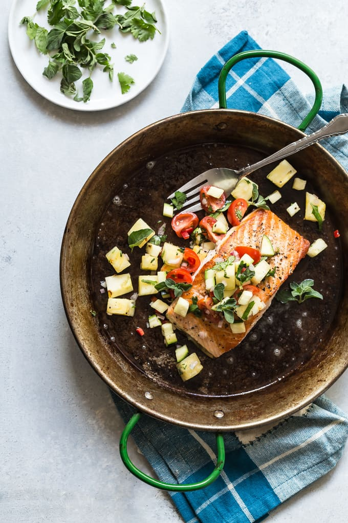 Cool Mom Eats weekly meal plan: Seared Salmon with Pineapple Salsa at Foodness Gracious