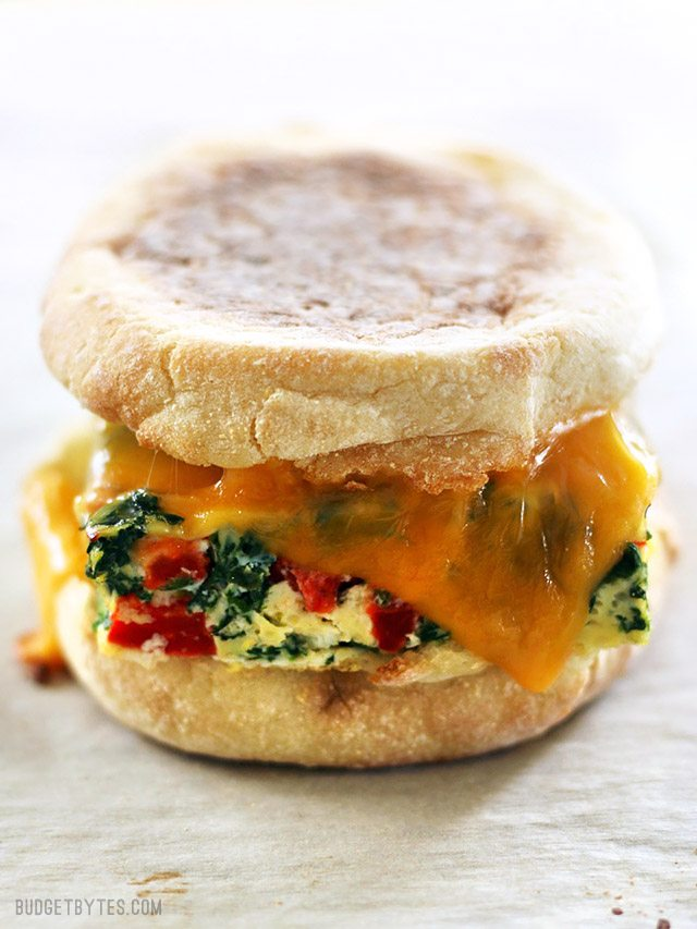 Make-ahead holiday breakfast recipes: Veggie Packed Make-Ahead Breakfast Sandwiches   Budget Bytes