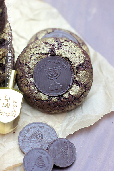 Hanukkah cookie recipes | Chocolate olive oil Hanukkah crinkle gelt cookies at Busy in Brooklyn