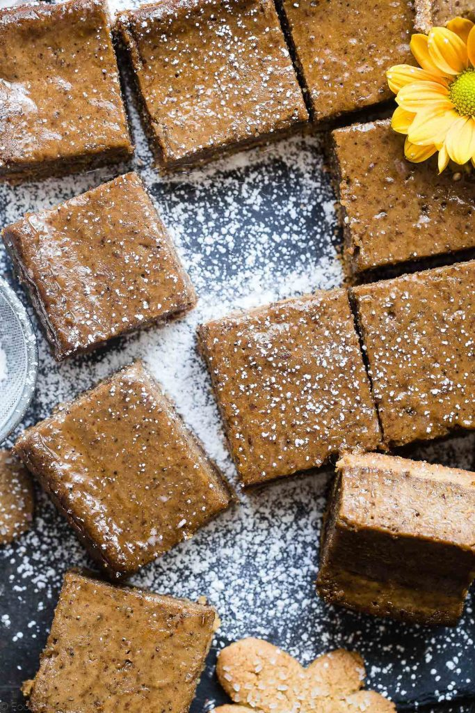 Clean holiday dessert recipes: Paleo & Vegan Gingerbread Coffee Cheesecake bars at Food, Faith, Fitness