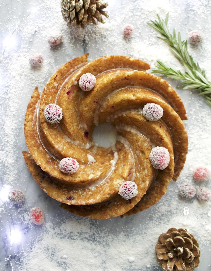 Clean holiday dessert recipes: Paleo and gluten-free cranberry orange bundt cake at Peanut Butter and Fitness