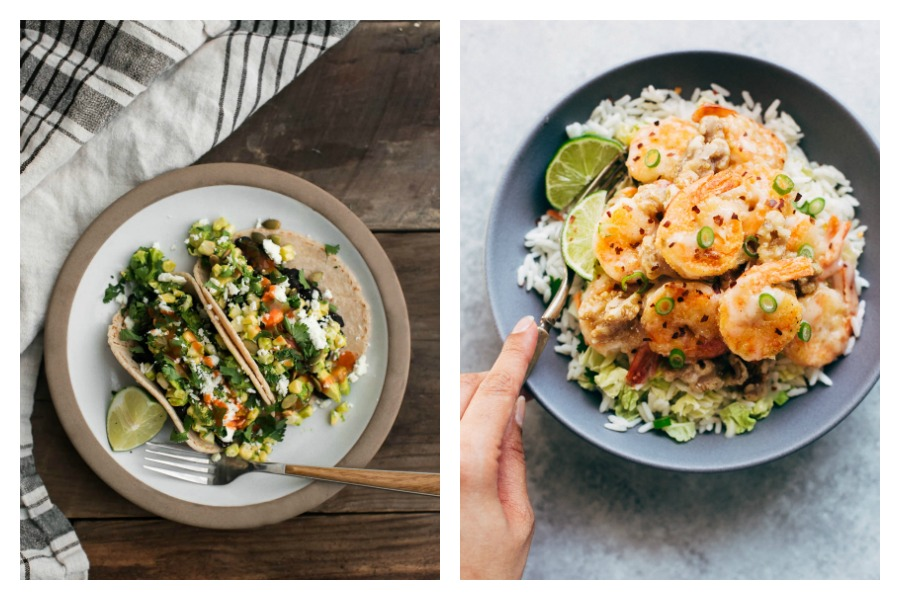 Next week's meal plan: 5 easy recipes for the week ahead, from healthy veggie tacos to lighter Honey Walnut Shrimp.