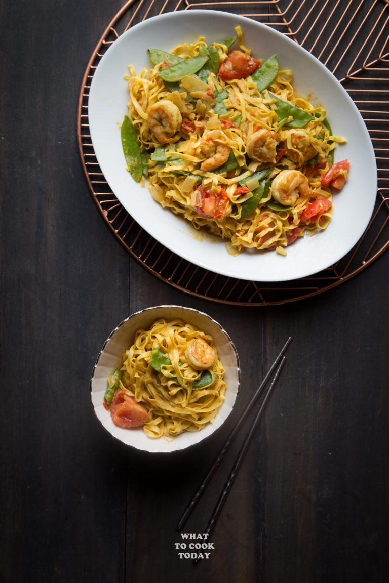 Cool Mom Eats weekly meal plan: Saucy Curry Shrimp Chow Mein at What to Cook Today
