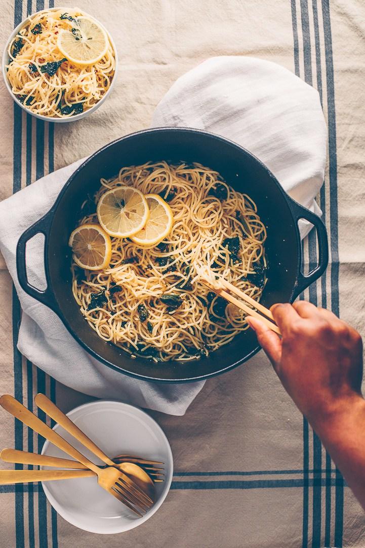Cool Mom Eats weekly meal plan: Lemon Kale Pasta at Mash & Spread