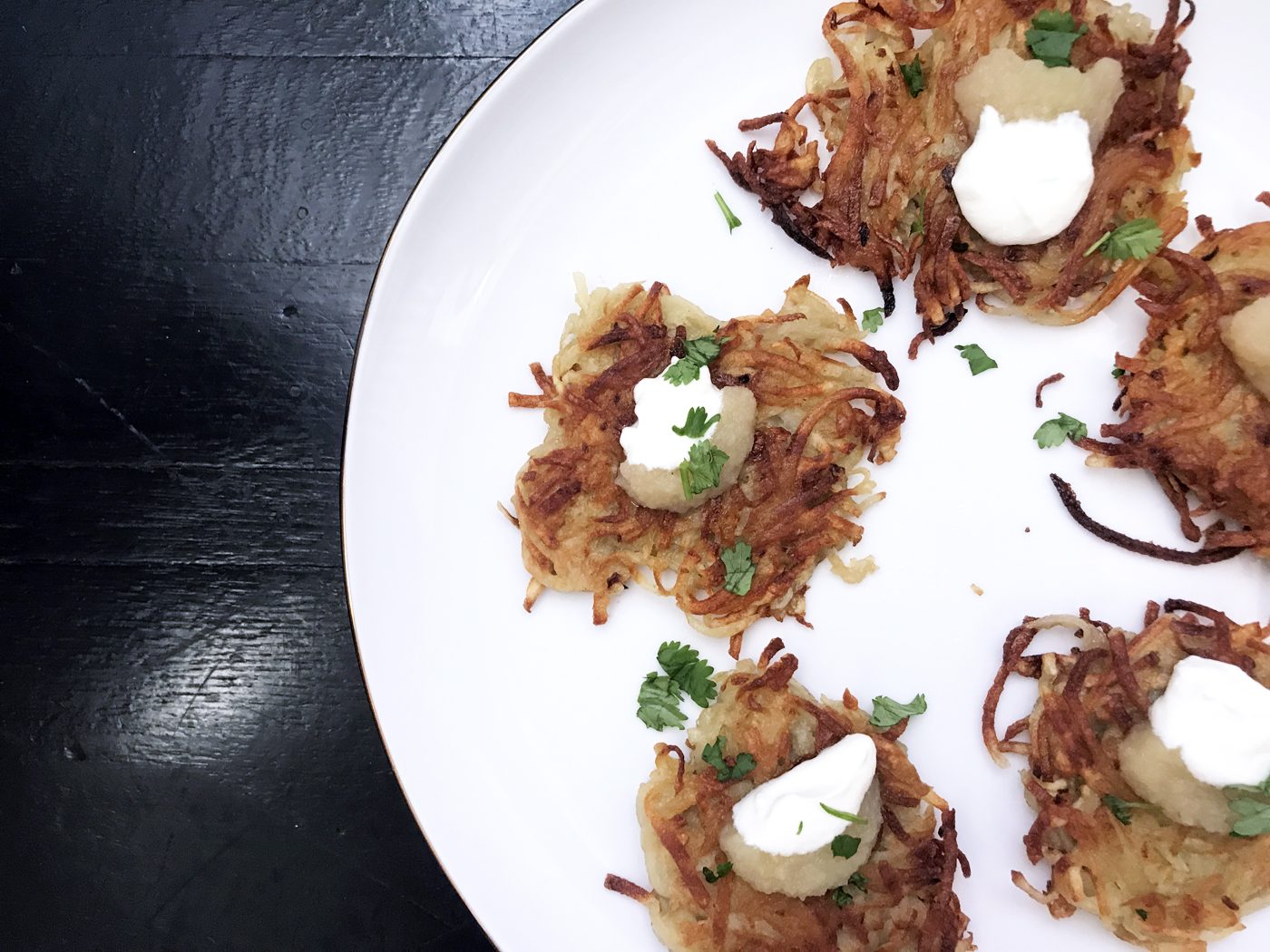 Classic Hanukkah recipes: Easiest (and best!) Potato Latkes recipe by Stacie Billis at Cool Mom Eats