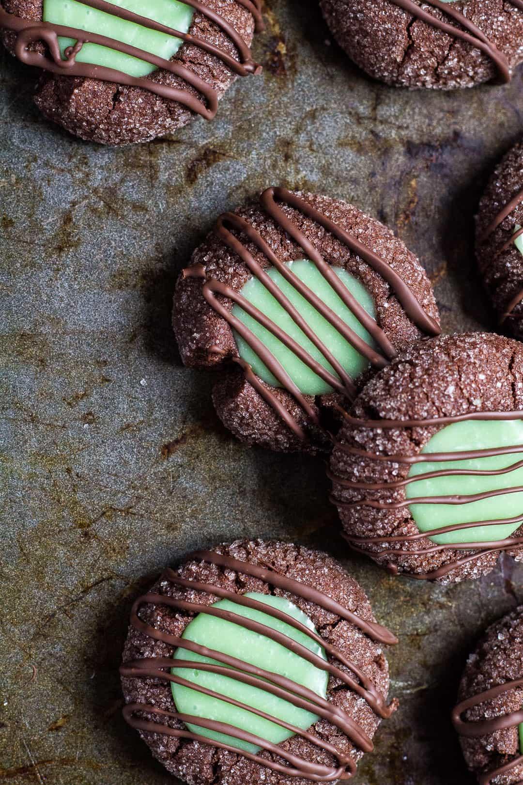 Holiday thumbprint cookies: Mint Chocolate Thumbprint Cookies| Marsha's Baking Addiction