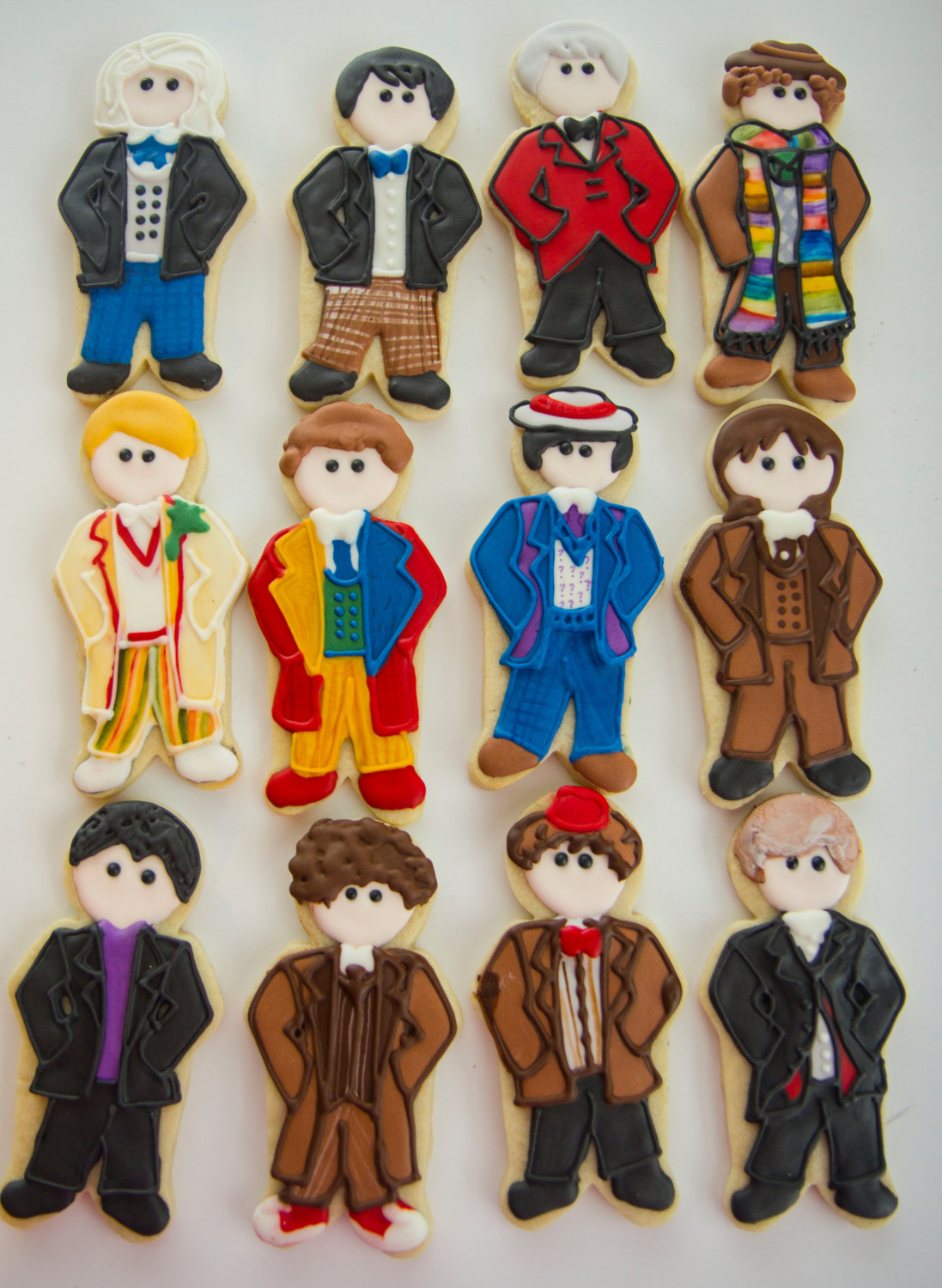 Pop-culture gingerbread cookies: The doctors of Doctor Who at Charlie's Cookies