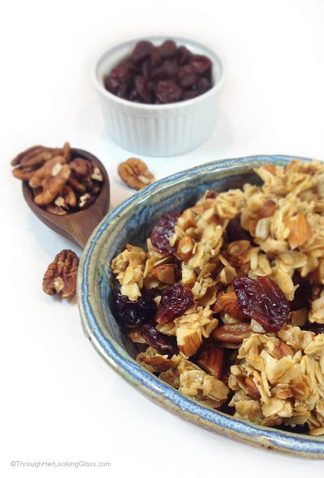 Snack recipes that help you sleep better: Cherry Pecan Granola | Through Her Looking Glass