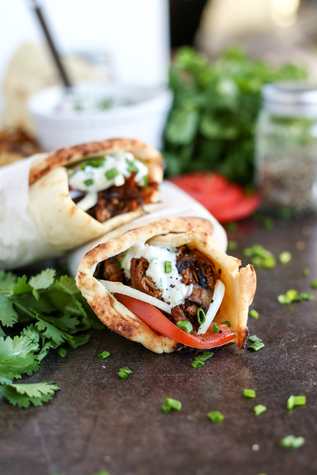 Vegan Jackfruit and Mushroom Gyros with Tzatziki at I Love Vegan