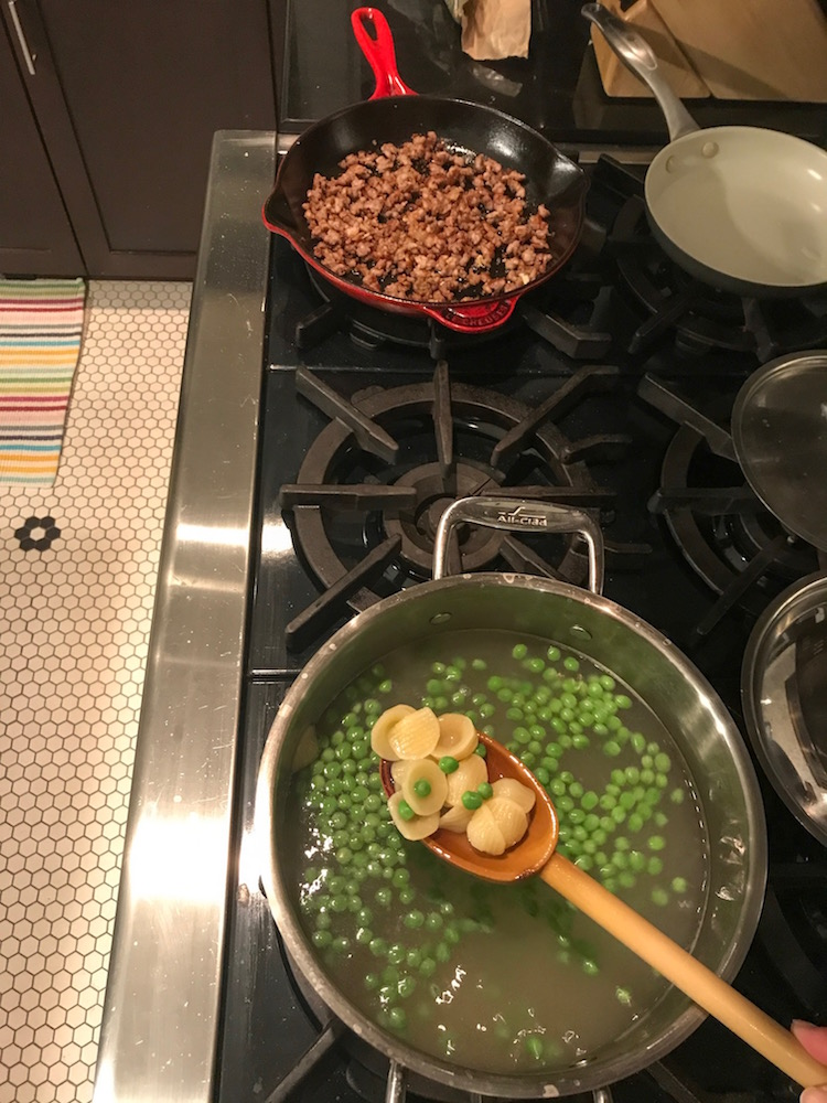 Store-bought sausage makes four family dinners: Add peas or broccoli to sausage and orecchiette. | ©Jane Sweeney for Cool Mom Eats