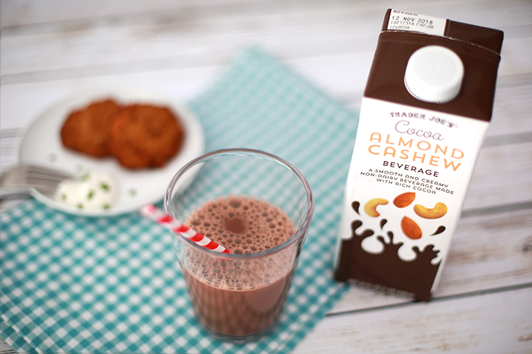 Our 15 favorite healthy Trader Joe's products to help make healthy eating easier: Cocoa Cashew Almond Beverage   Cool Mom Eats