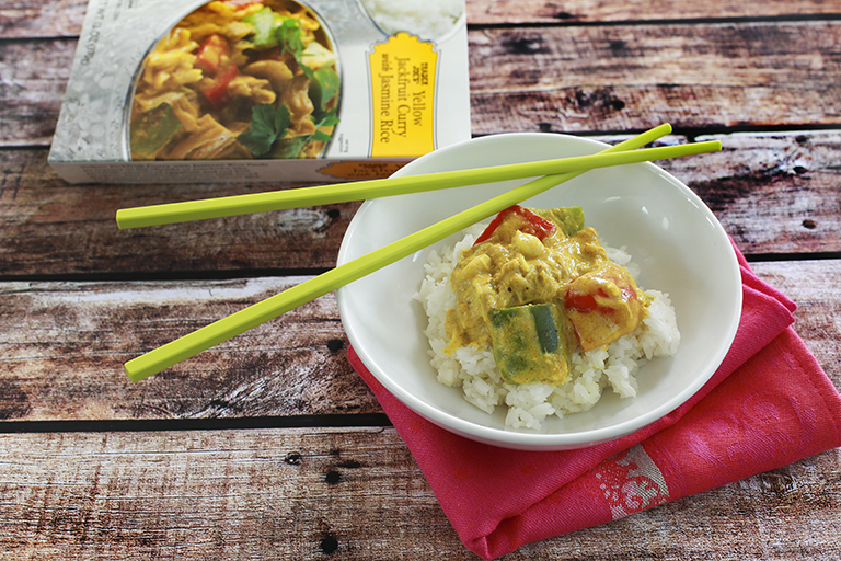 Our 15 favorite healthy Trader Joe's products to help make healthy eating easier: Jackfruit Yellow Curry with Jasmine Rice | Cool Mom Eats