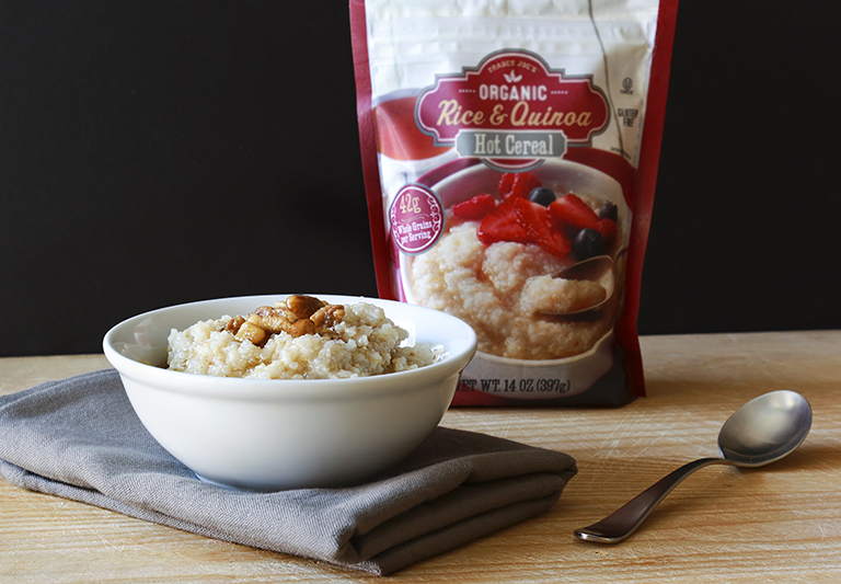 Our 15 favorite healthy Trader Joe's products to help make healthy eating easier: Organic Rice and Quinoa Hot Cereal | Cool Mom Eats