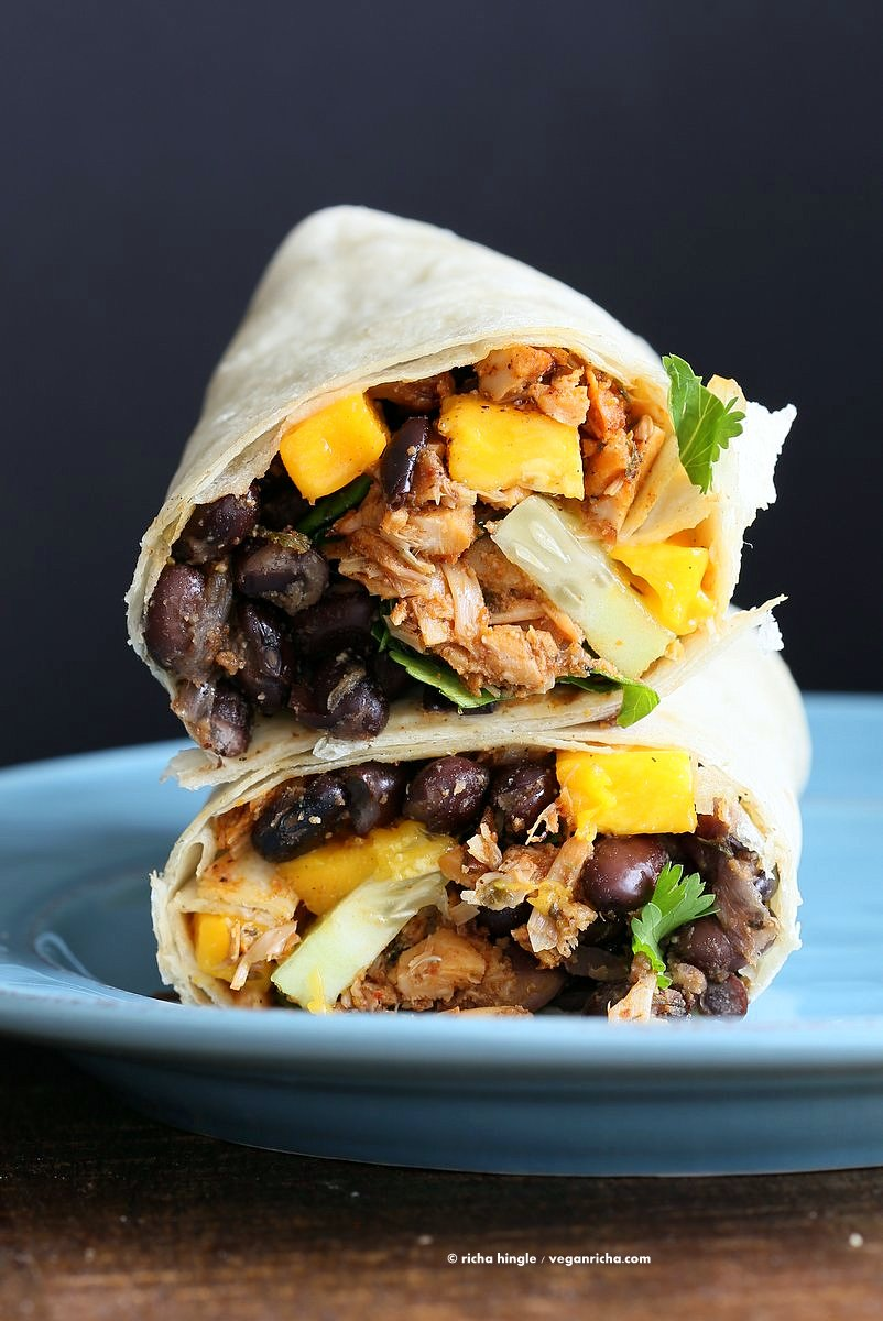 Jamaican Jerk Jackfruit Black Bean Mango Wraps at Vegan Richa
