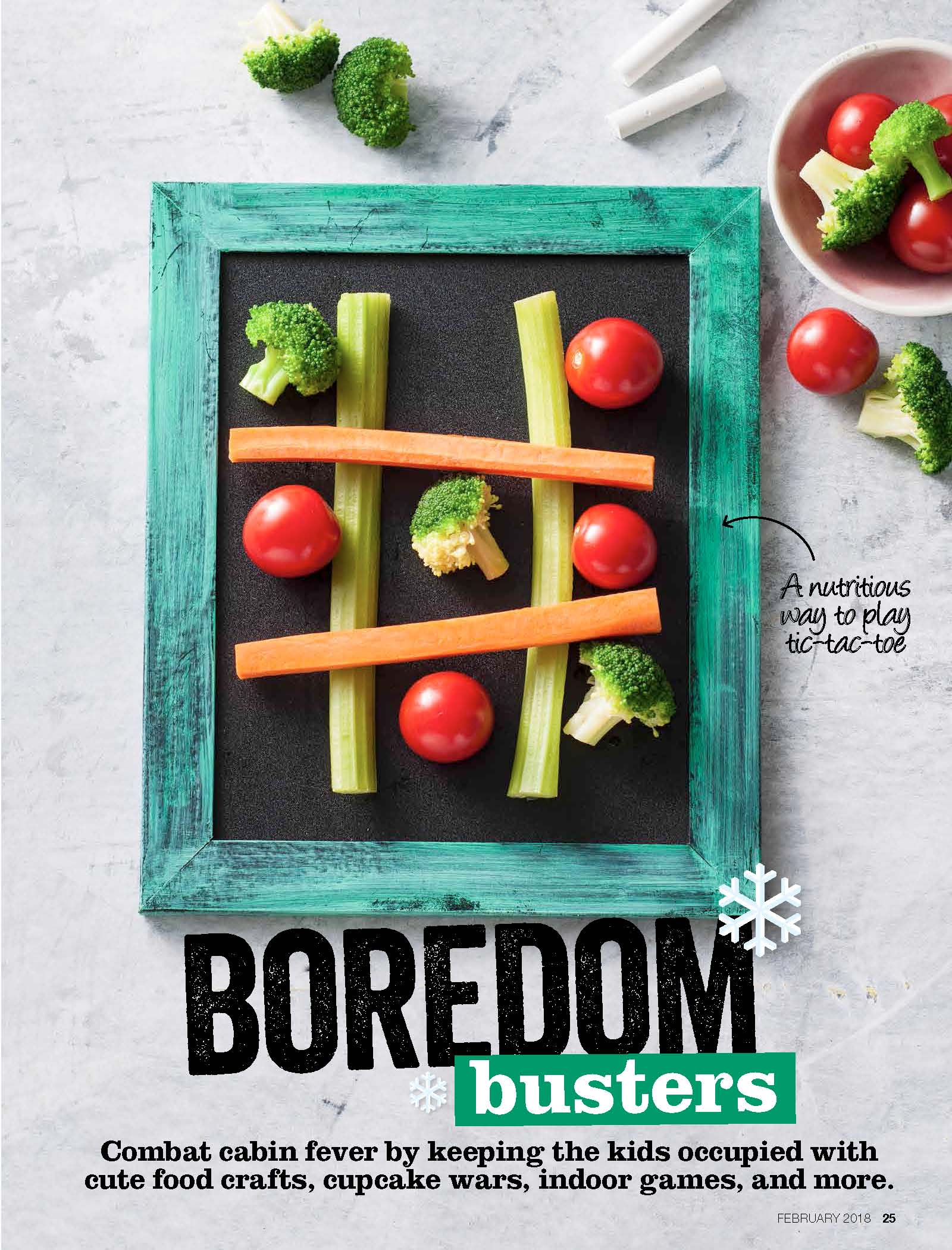 Savory Magazine Snow Day activity guide includes kitchen fun for families like edible tic tac toe | Cool Mom Eats (sponsored)