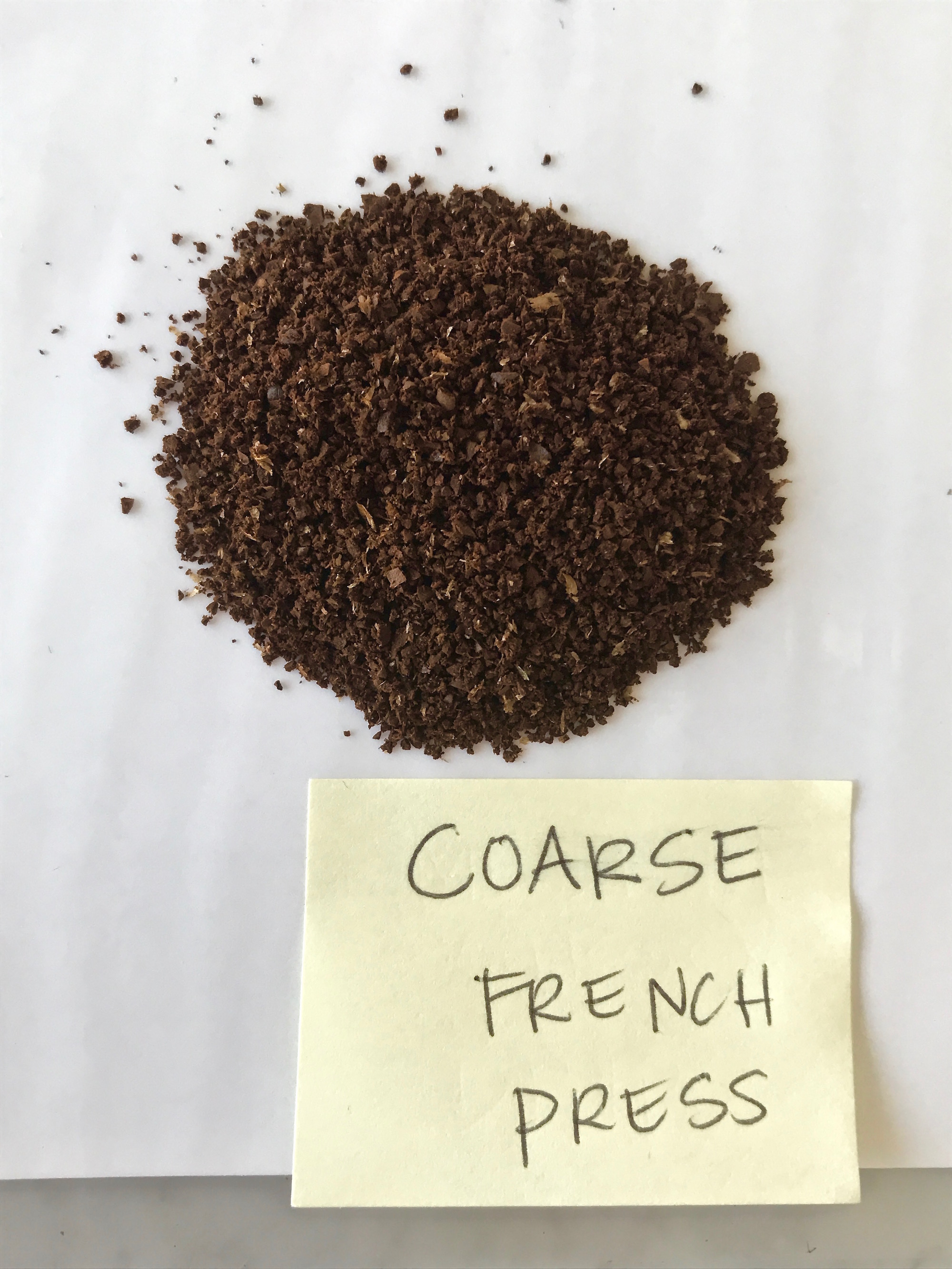 Visual guide to grinding coffee: Coarse French Press | © Jane Sweeney Cool Mom Eats