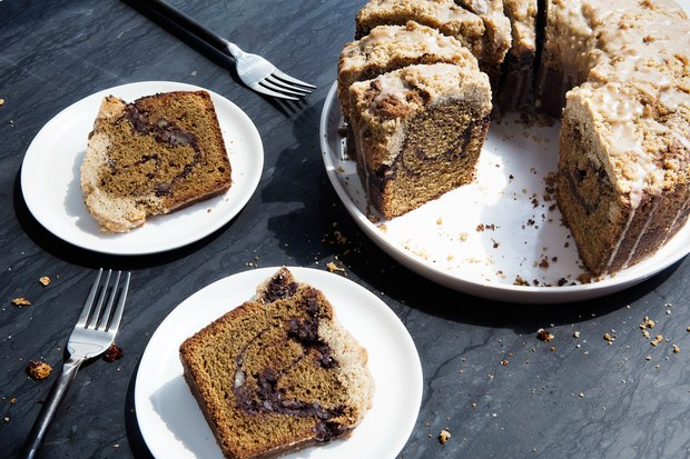 Baking with coffee flour: Coffee Coffee Coffee Cake | Photo by Chelsea Kyle for Epicurious
