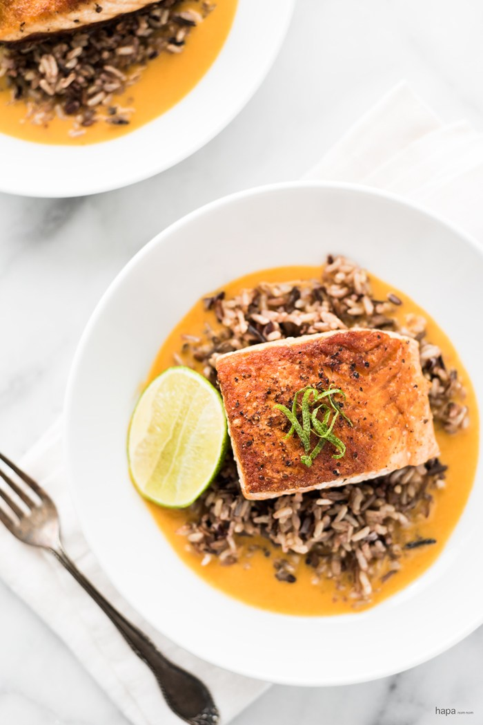 Cool Mom Eats weekly meal plan: Pan Seared Salmon with Wild Rice in Coconut Curry Broth | Hapa Nom Nom