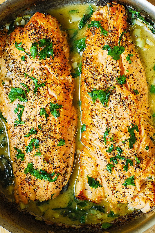 Cool Mom Eats weekly meal plan: Trout with Garlic Lemon Butter Herb Sauce | Julia's Album