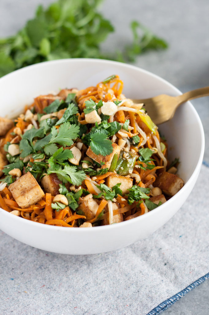 Cool Mom Eats weekly meal plan: Vegan Pad Thai with Sweet Potato Noodles at Well Vegan