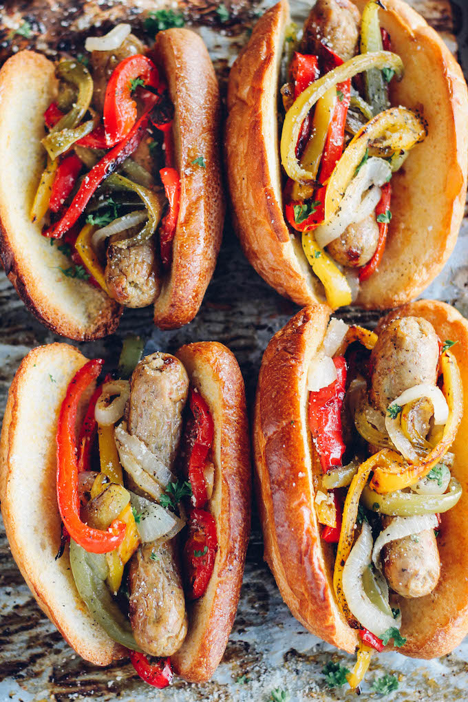 Super Bowl recipes that satisfy your game day cravings and also serve as dinner: Sheet Pan Sausage and Pepper Hoagies | Destination Delish