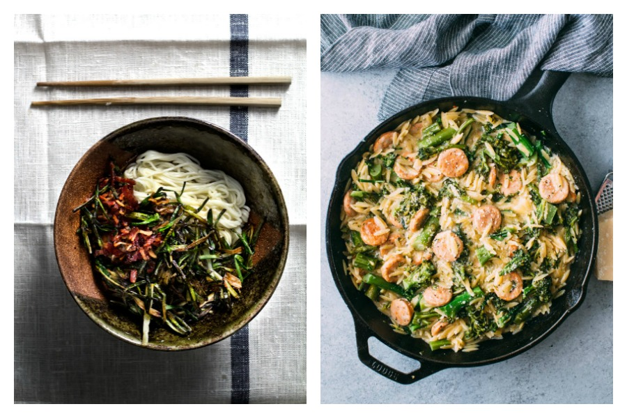 Cool Mom Eats weekly meal plan: 5 fast, easy, family-friendly meals for the week ahead, including  5-Minute Scallion Fat Noodles at Lady & Pups and Broccolini, Chicken Sausage, and Orzo Skillet at The Kitchn (Photo Maria Siriano)