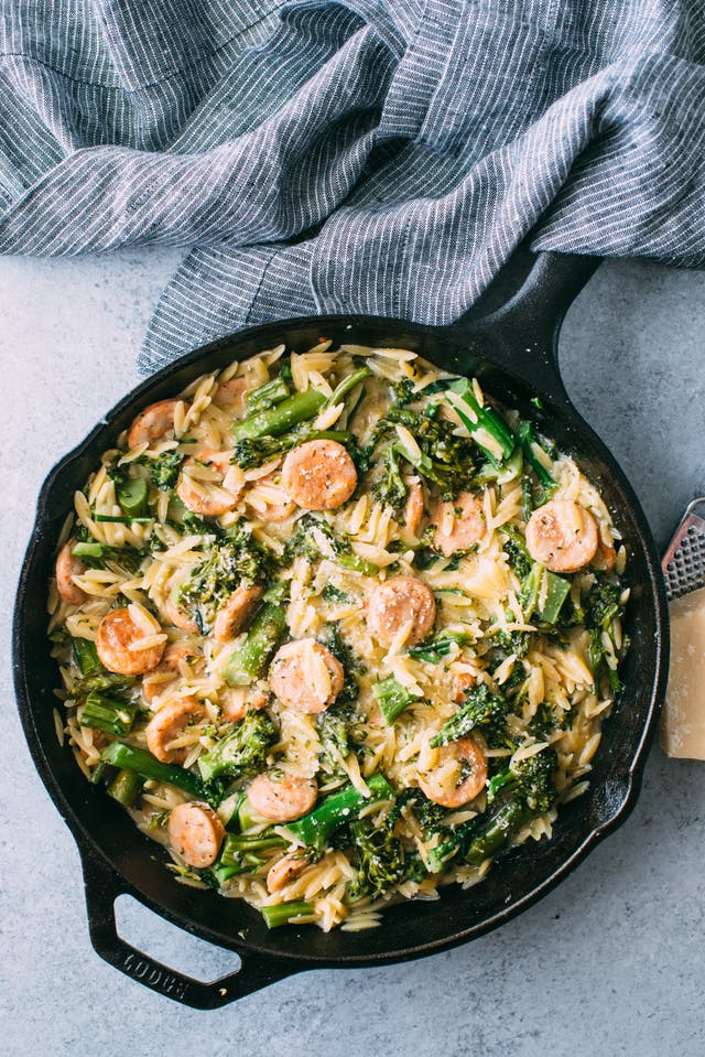 Cool Mom Eats weekly meal plan: Broccolini, Chicken Sausage, and Orzo Skillet | Photo by Maria Siriano for The Kitchn