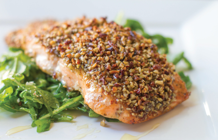 Cool Mom Eats weekly meal plan: Honey Pecan Crusted Salmon | Meiko and the Dish