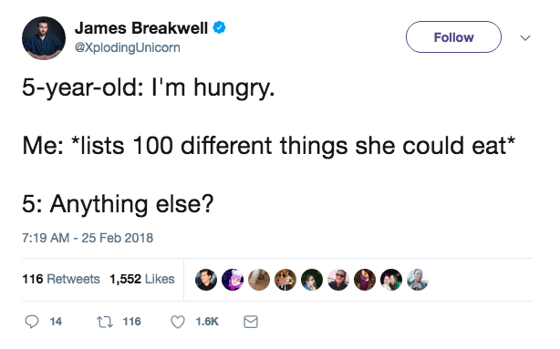 Funniest tweets about picky eaters from hilarious parents on Twitter: James Breakwell via Twitter