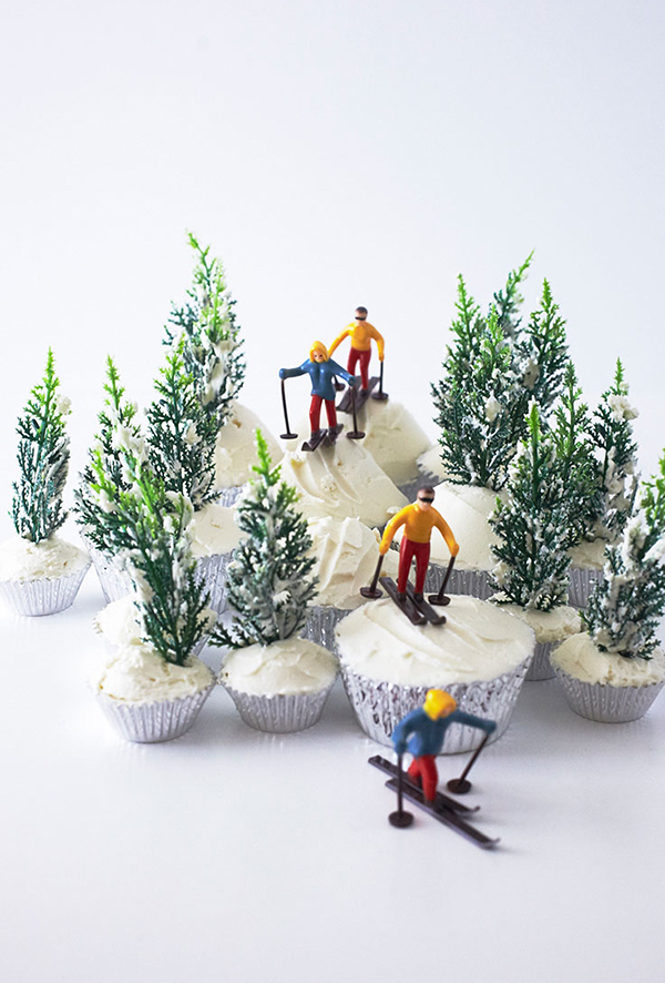 Olympics snack recipes: Ski Slope cupcakes at The Cake Blog